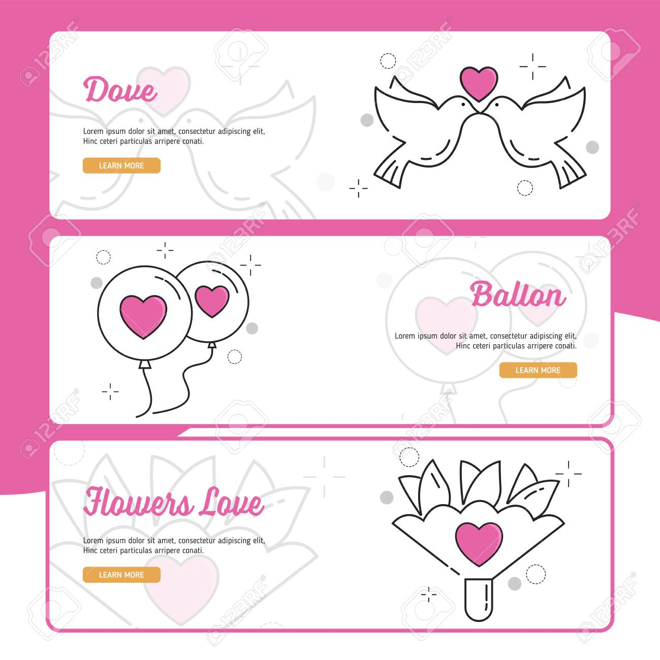 Wedding Banner Design With Outline Filled Style Royalty Free Cliparts Vectors And Stock Illustration Image 117696704