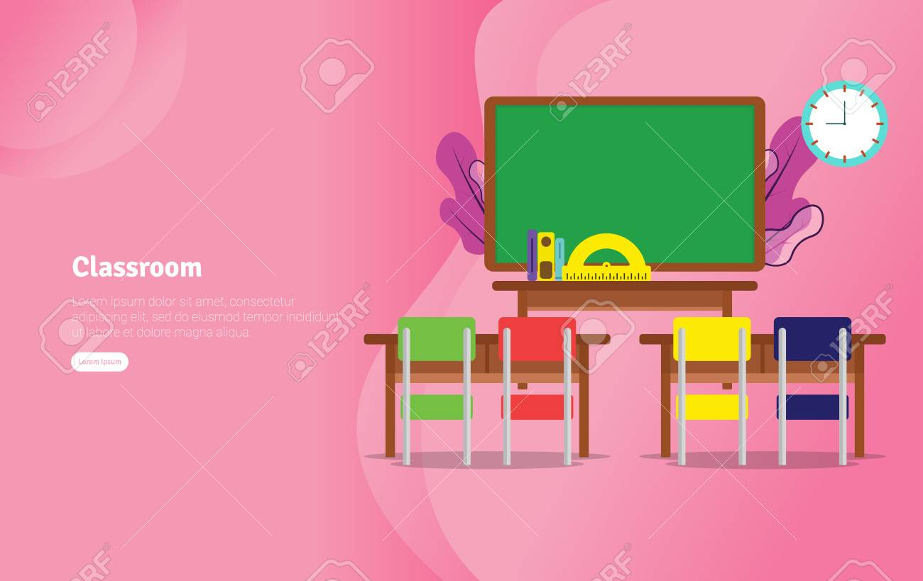 Classsroom Concept Educational And Scientific Illustration Banner Royalty Free Cliparts Vectors And Stock Illustration Image 117697436