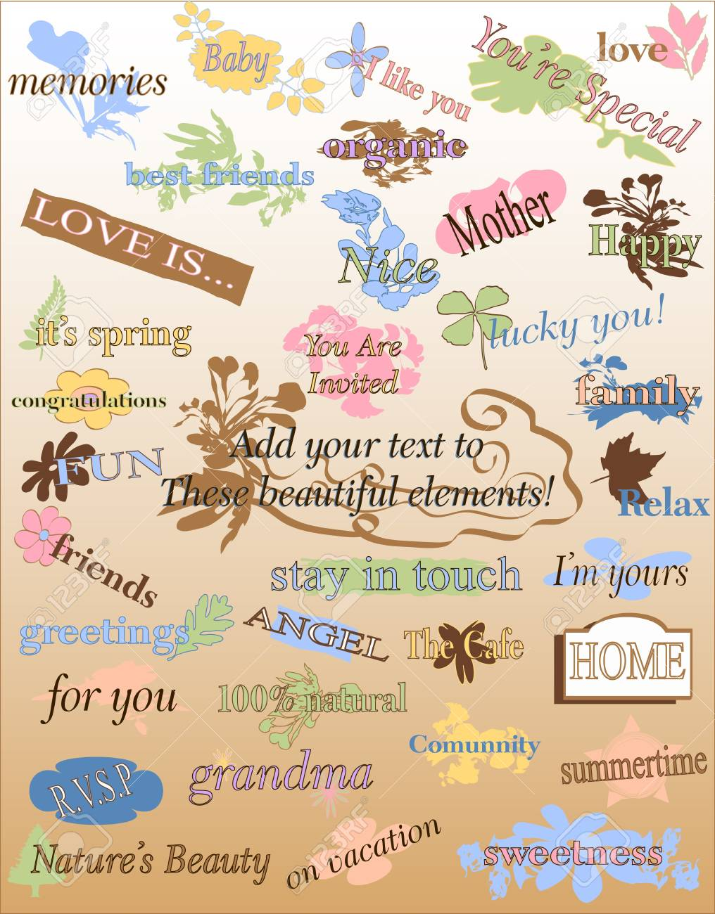 Floral signs and designs set stock photo 3354120