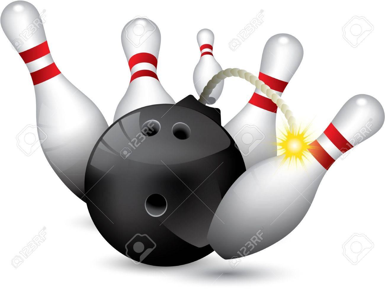 Bowling ball bomb crashing into the pins Stock Vector - 9229539