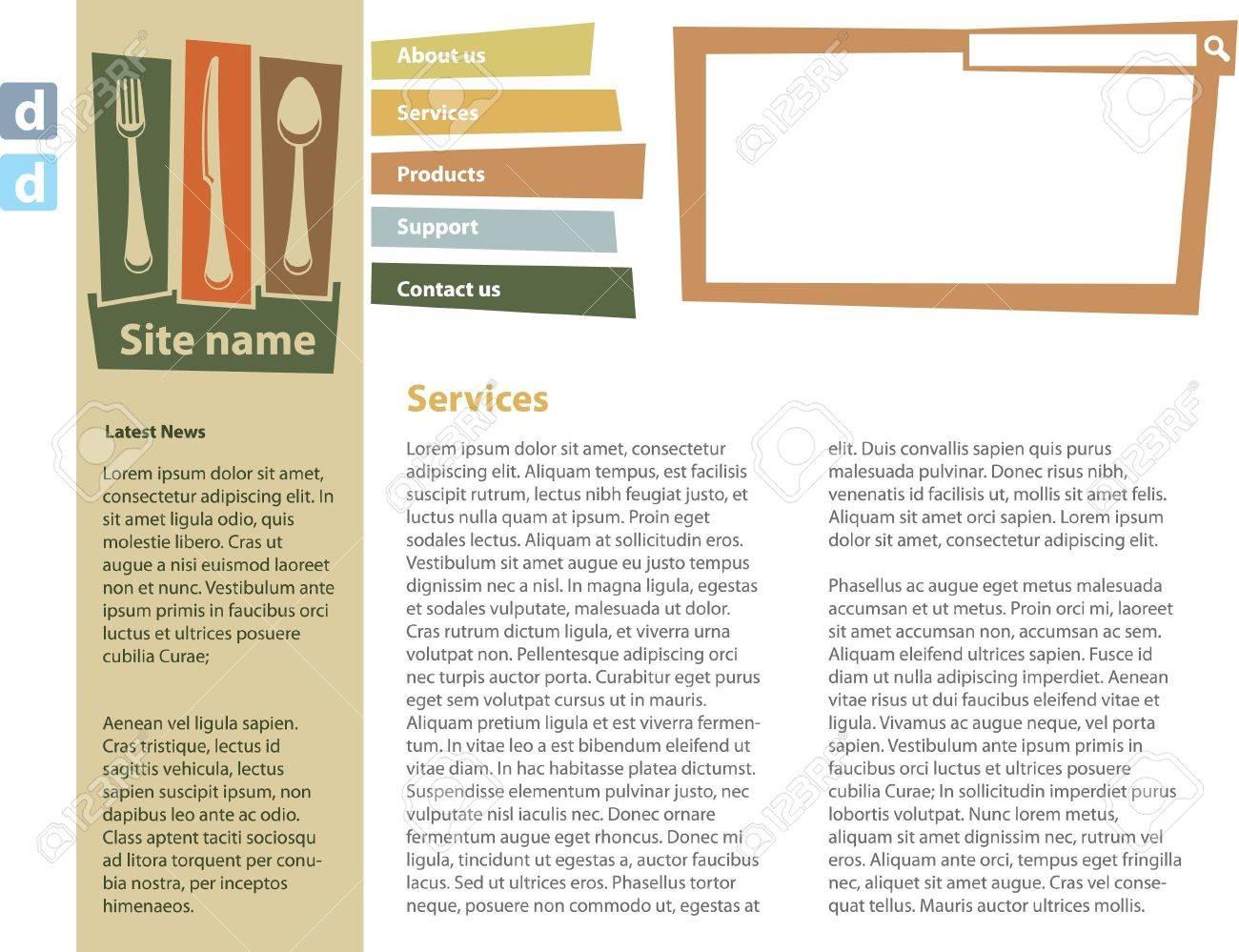 Food blog design template Stock Vector - 9480925