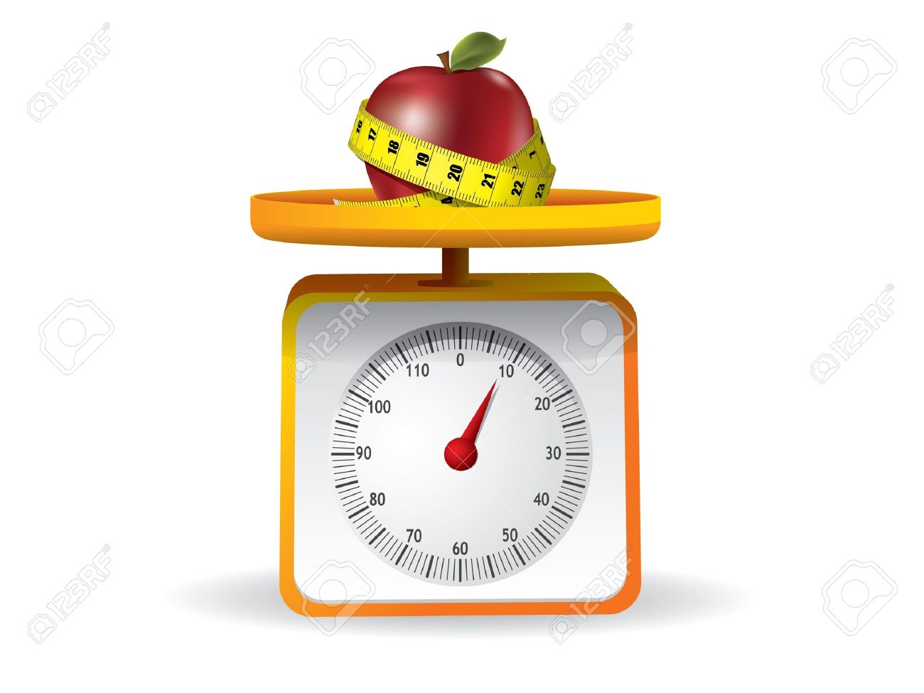 apple on kitchen food scale on white background Stock Vector - 9543578