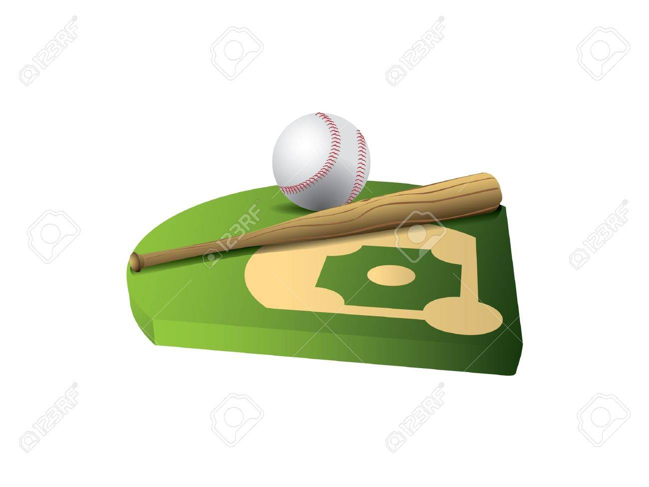 Baseball and bat on 3d field Stock Vector - 9640848