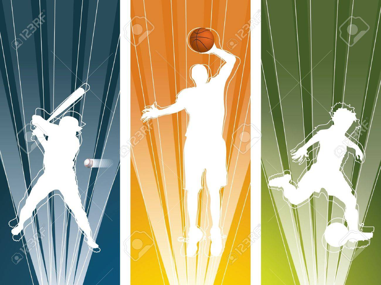 Sport player silhouette banners Stock Vector - 9716659