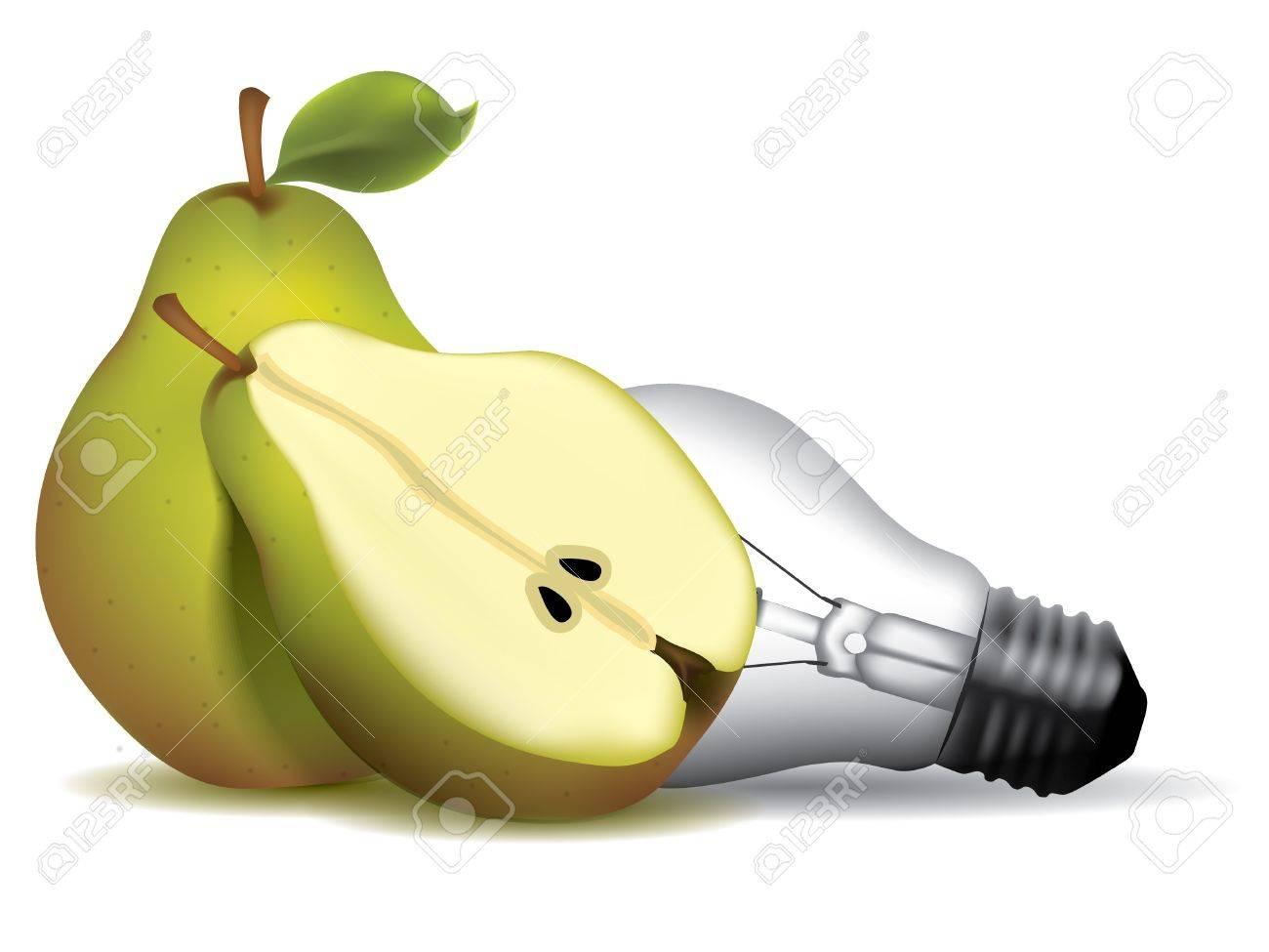 Pear shape light bulb with pears Stock Vector - 9846084