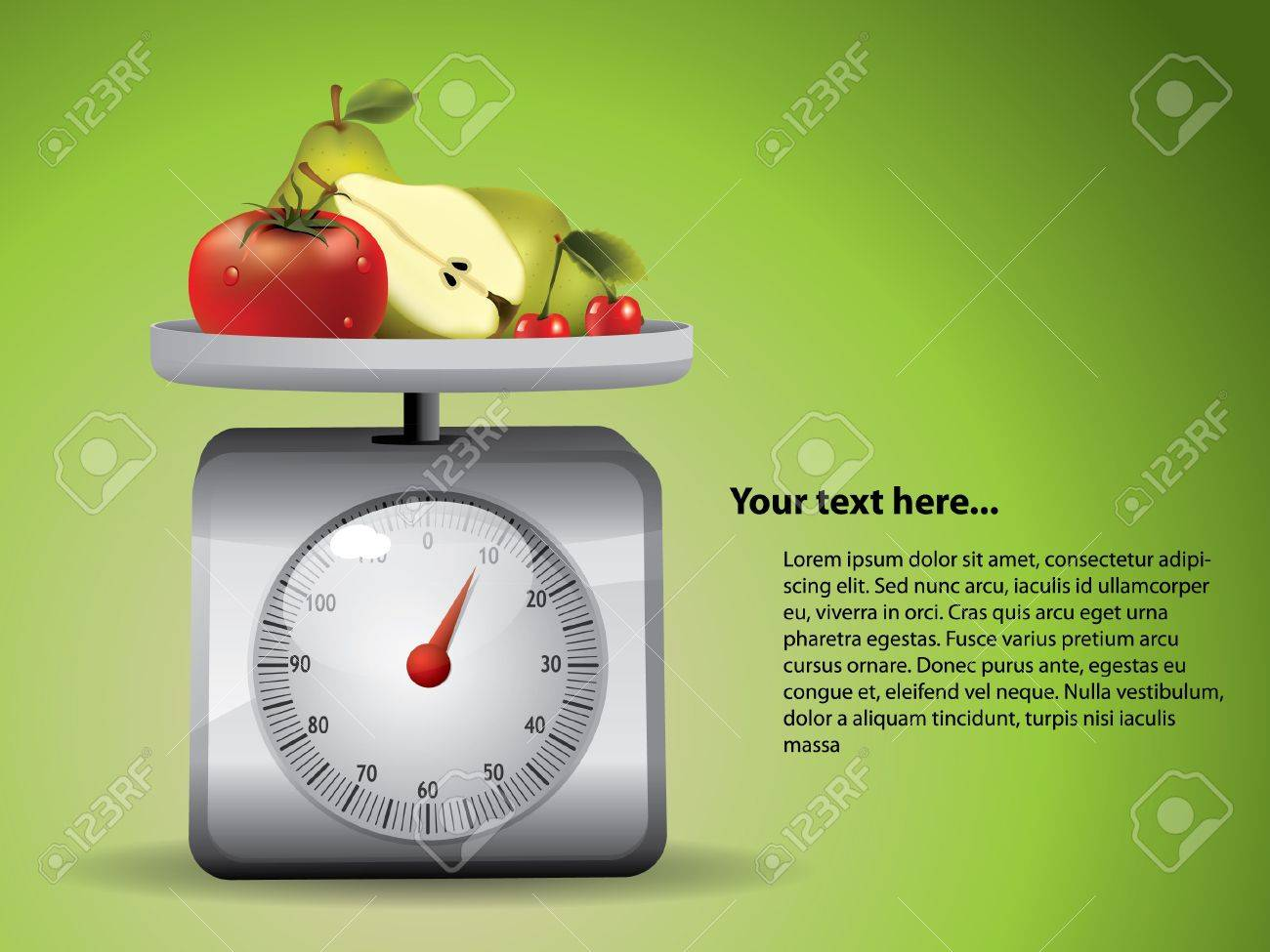 Kitchen Scale with fruits Stock Vector - 10283019