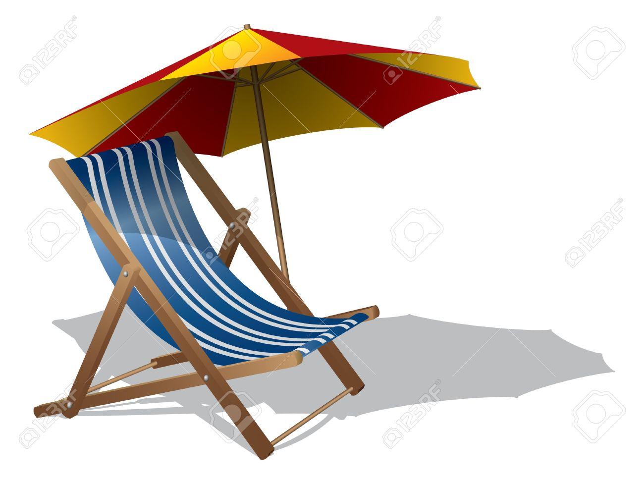 Beach chair with umbrella - Beach Chair With Umbrella Stock Vector 12851973