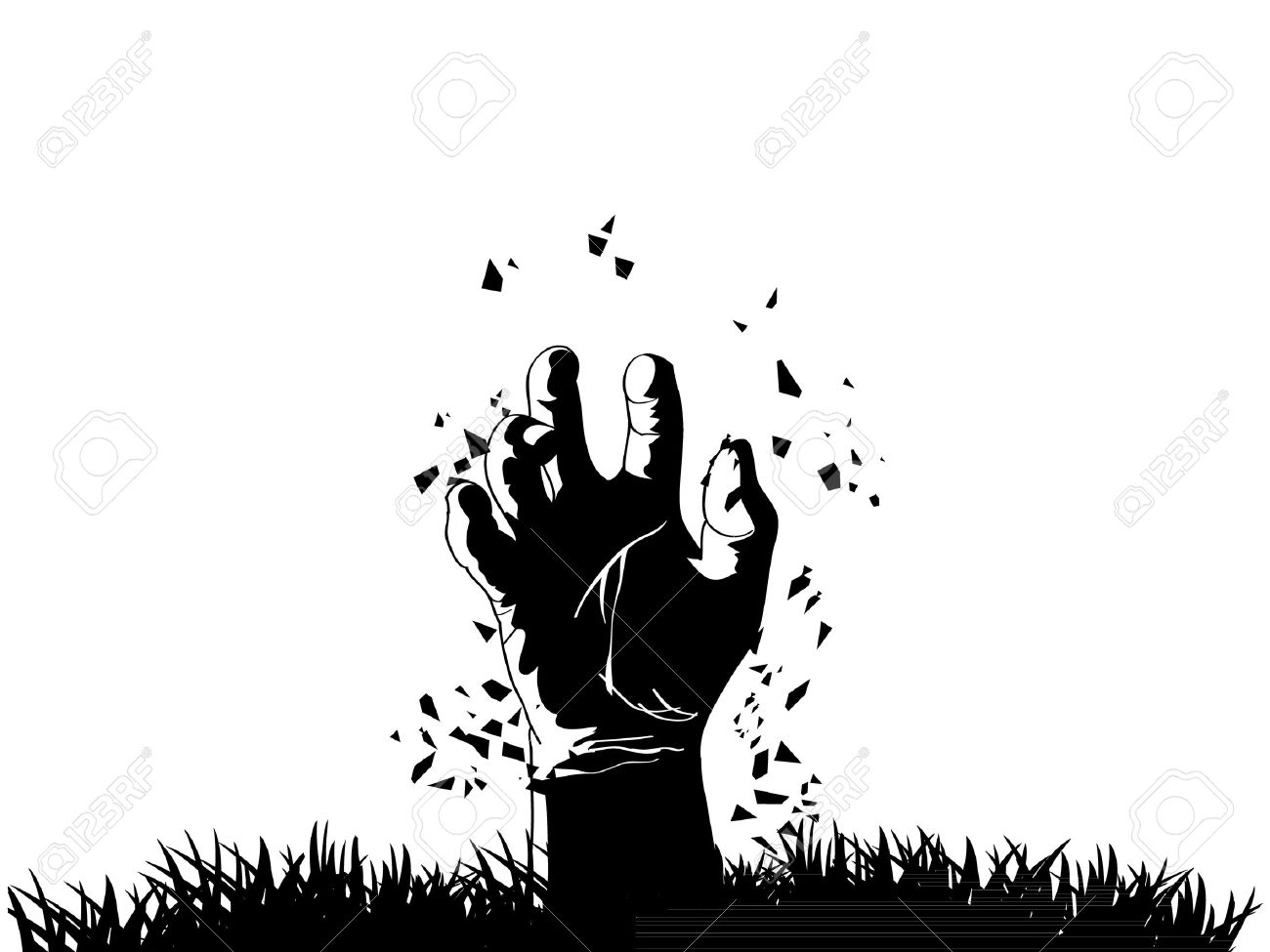Zombie hand coming out from grave - 15805377