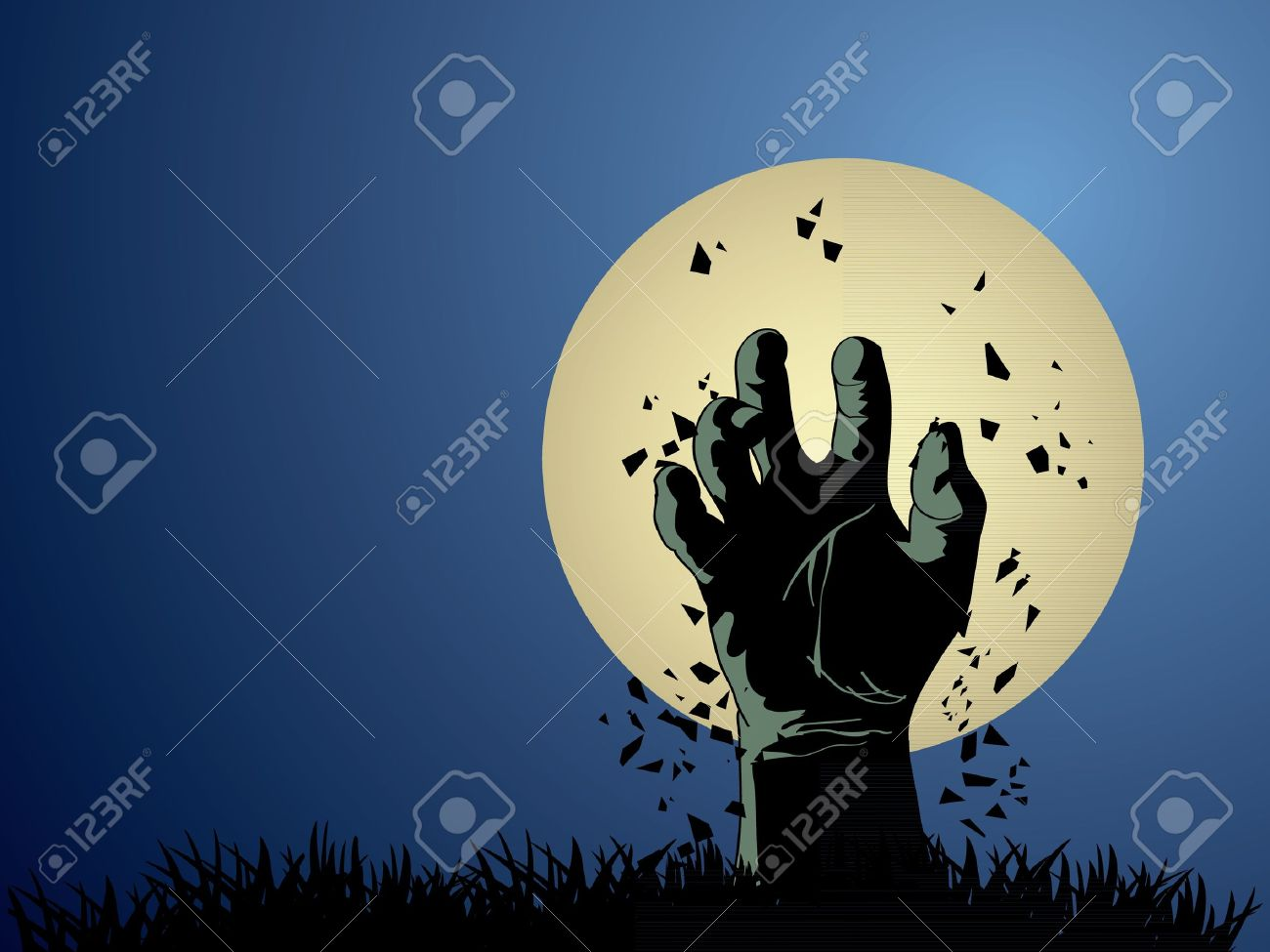 Zombie hand coming out from grave Stock Vector - 15805378