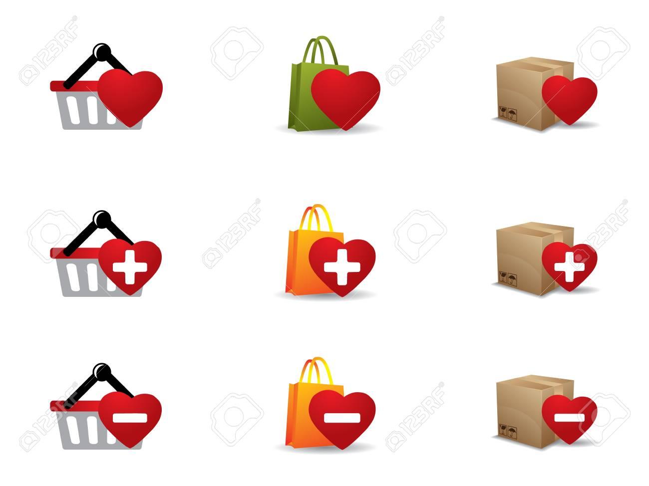Valenintes day Shopping icons set Stock Vector - 17304507