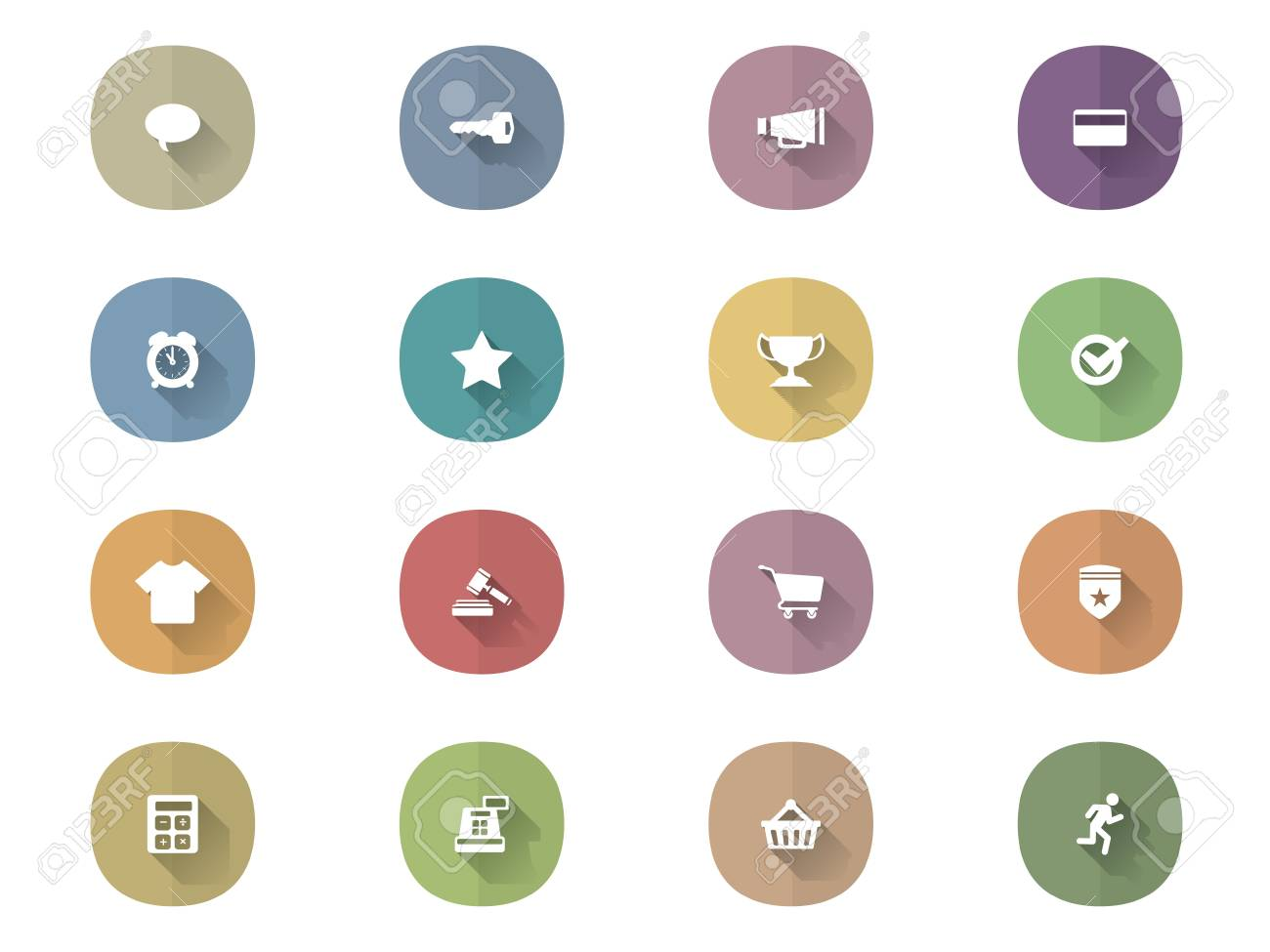 Icons With Long Shadow Stock Vector - 21302713