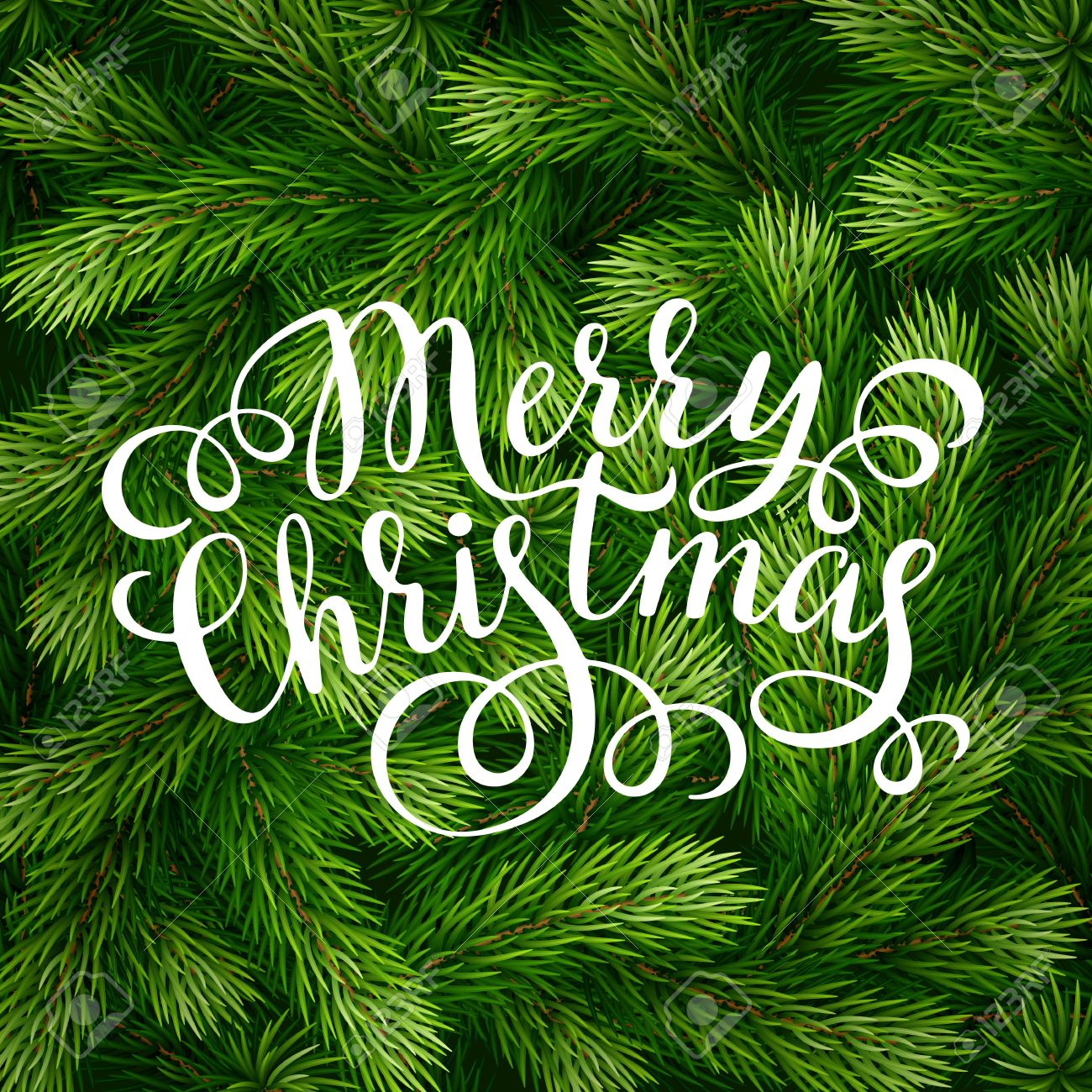 Hand drawing calligraphy phrases on detailed Christmas tree branches background for greeting card, poster, banner, website, header. Vector illustration. - 64772179