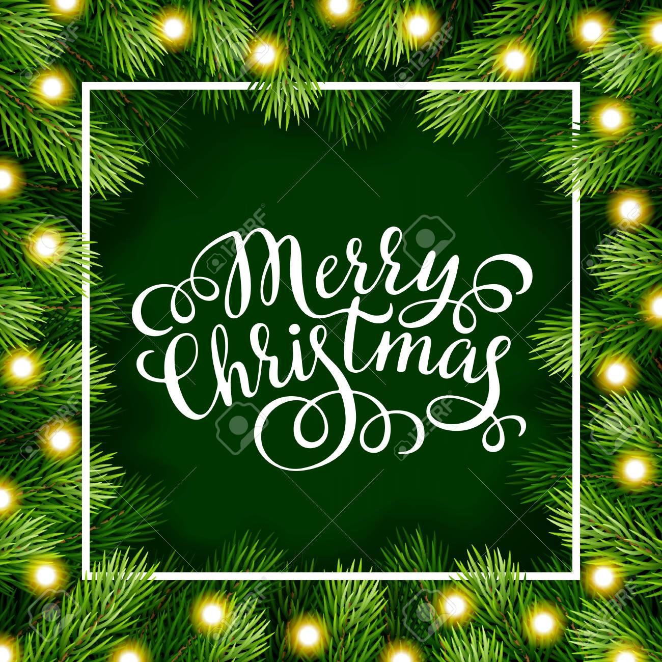Frasi Di Natale X Biglietti.Disegno A Mano Le Frasi Di Calligrafia Con Dettagliate Albero Di Natale Corona Per Biglietto Di Auguri Poster Banner Sito Web Intestazione
