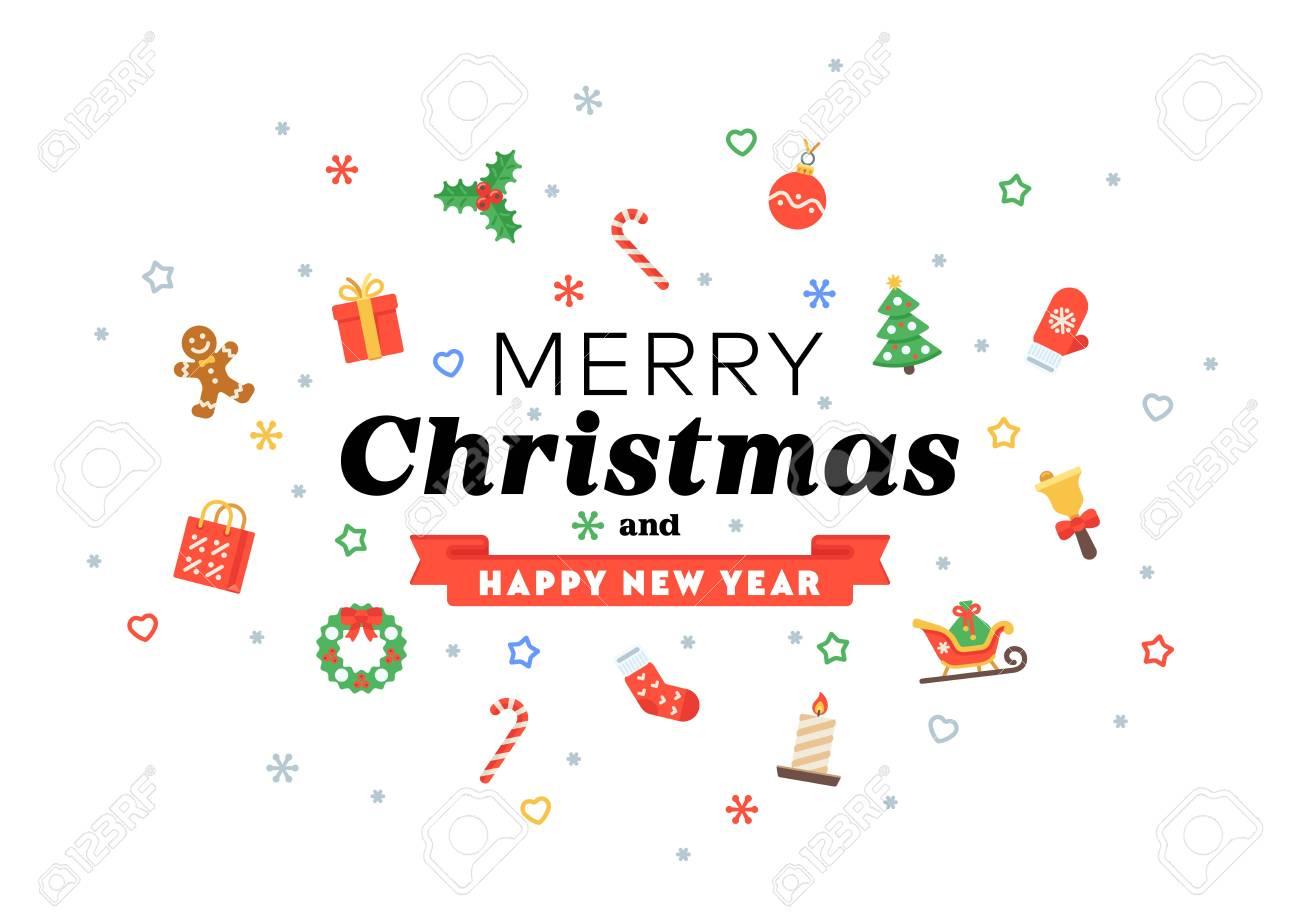 Frases Cortas De Felicitacion En Navidad.Tarjeta De Felicitacion De Navidad De Pictogramas Planos Y Frases De Felicitaciones Estacionales Para El Cartel