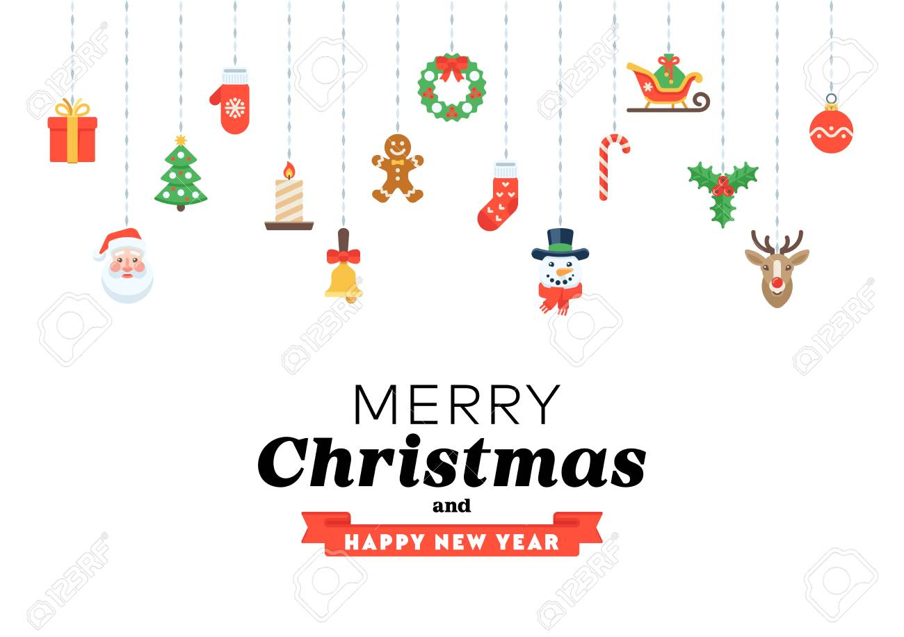 Felicitaciones Frases Navidad.Tarjeta De Felicitacion De Navidad De Pictogramas Planos Y Frases De Felicitaciones Estacionales Para Cartel Banner Sitio Web Infografia