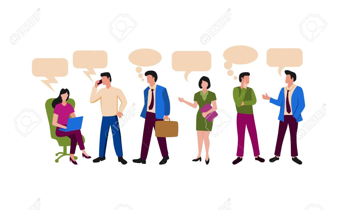 People illustration related to office activity or working team. Men and women working actifity for business - 144751704