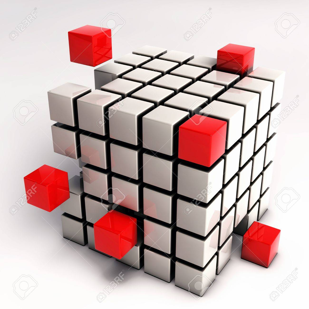 Abstract Cube Illustration - Red Cubes Separating from Single Cube Mesh isolated on white background Stock Photo - 17771093
