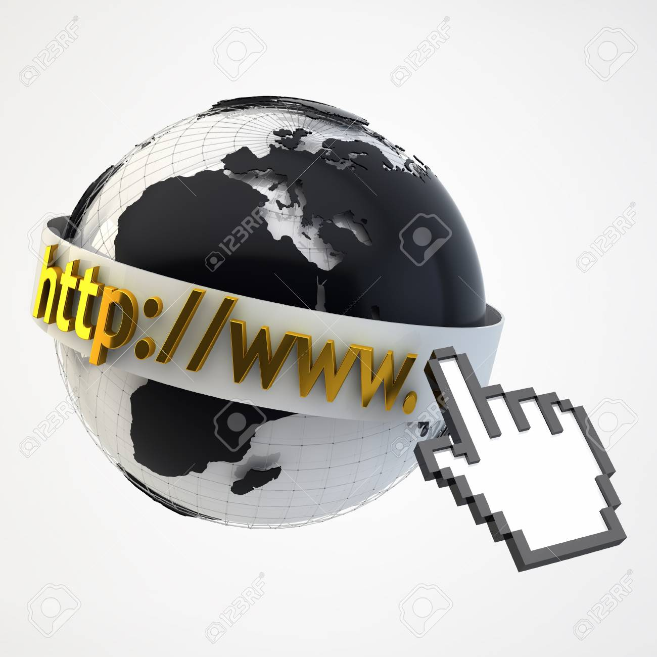 Internet Concept Illustration - Globe Coverered by Domain Bar Label with pointing hand arrow icon Stock Photo - 17771087