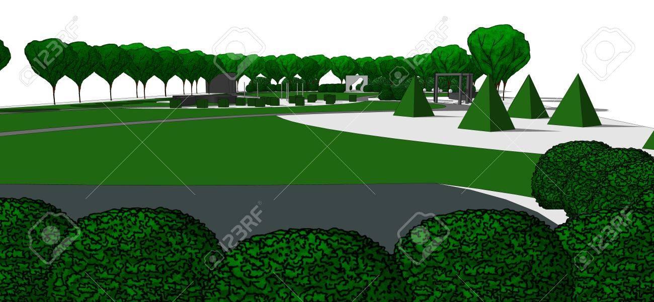 Illustration de jardin contemporain. Avec les arbres et arbustes dessinés à  la main. Sur fond blanc.