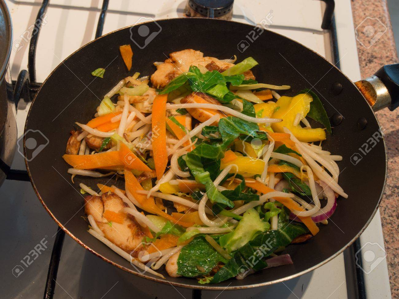 vegetable  on a pan in stir fries noodles preparation Stock Photo - 16295062