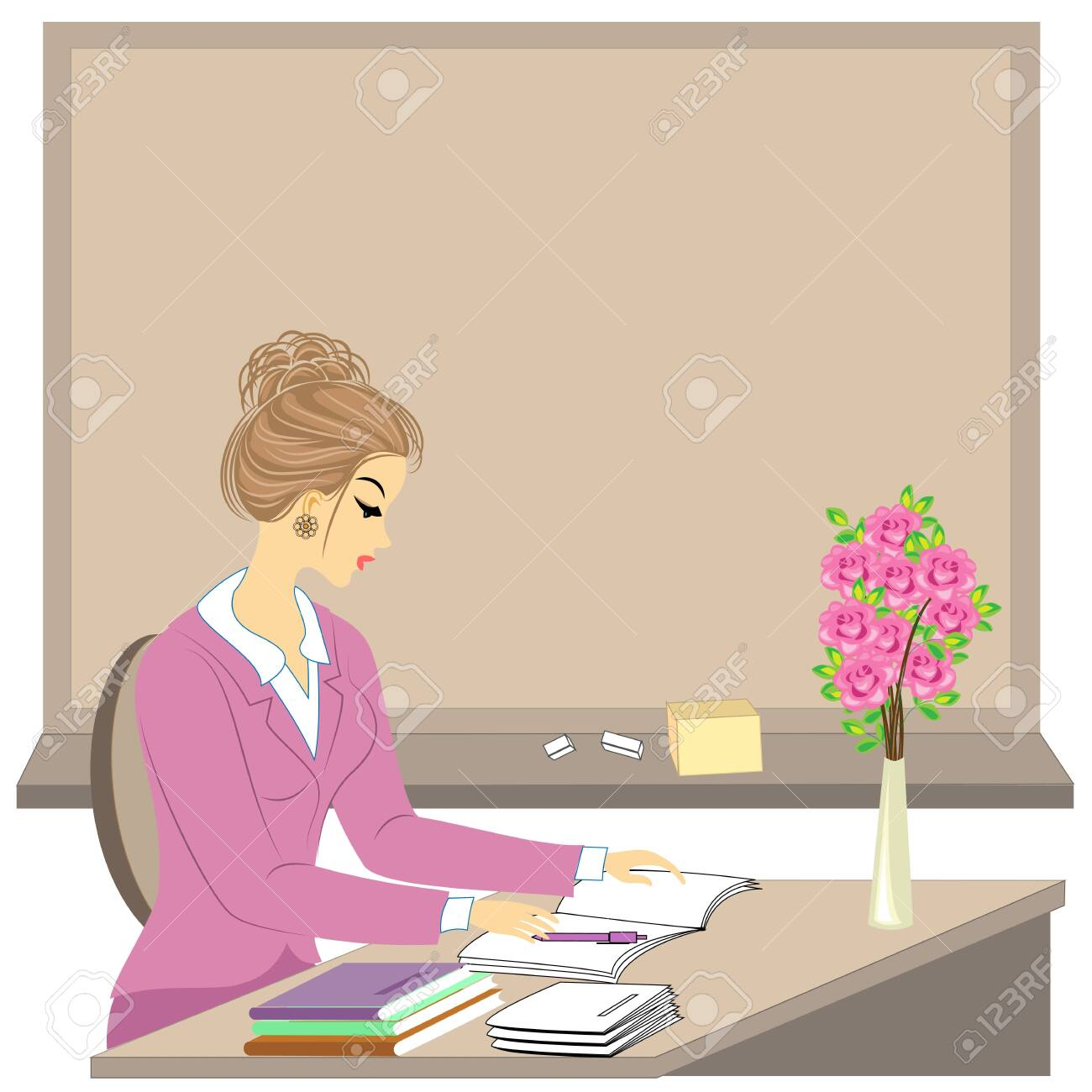 Handsome young teacher. The girl is sitting at the table near the window. A woman writes in a class journal. Vector illustration. - 121904936