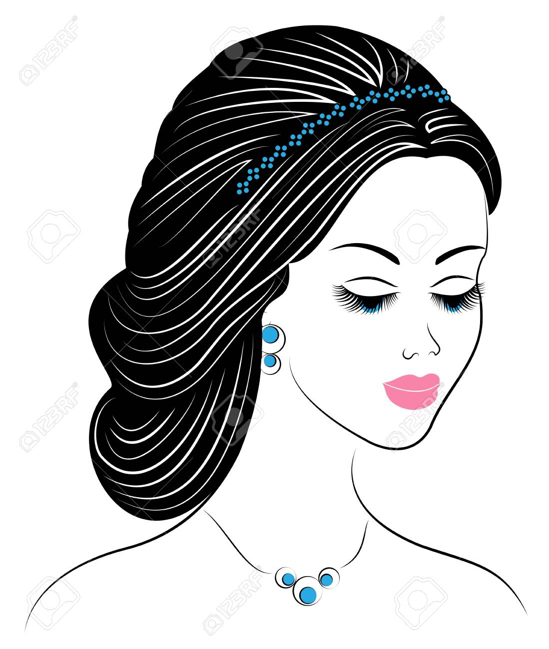 Silhouette of a profile of a sweet lady s head. The girl shows a female hairstyle on long and medium hair. Suitable for logo, advertising. Vector illustration. - 121911557