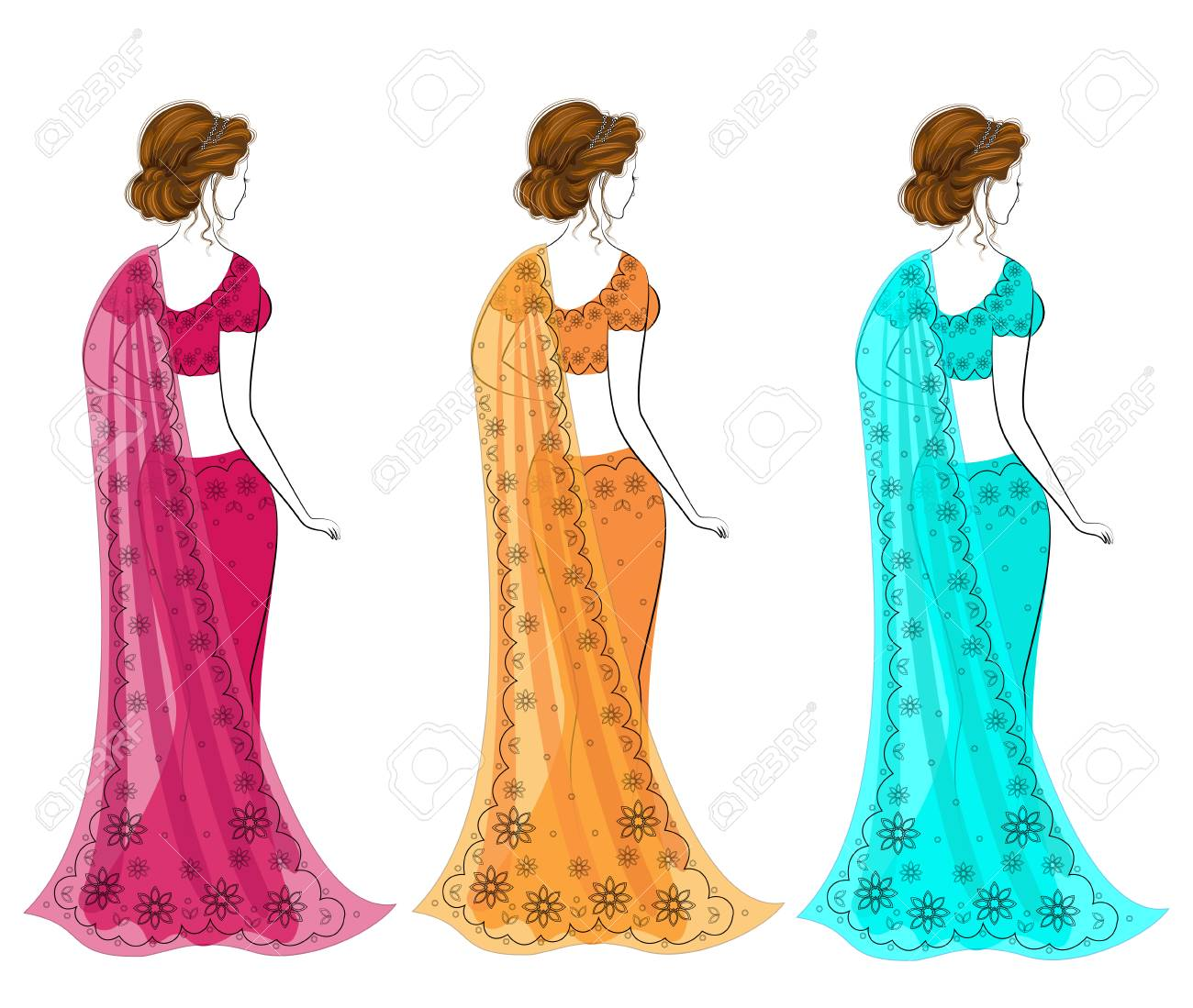 8853f5ee67 Silhouette of lovely ladies. The girls are dressed in saris, traditional  Indian