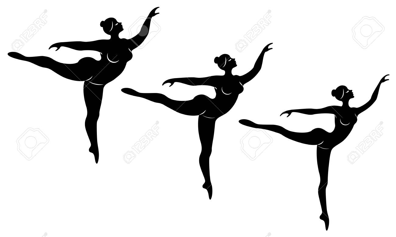 Collection. Silhouette of a cute lady, she is dancing ballet. A woman is overweight. The girl is plump, slim, thin. Woman ballerina, gymnast. Vector illustration set. - 122019214