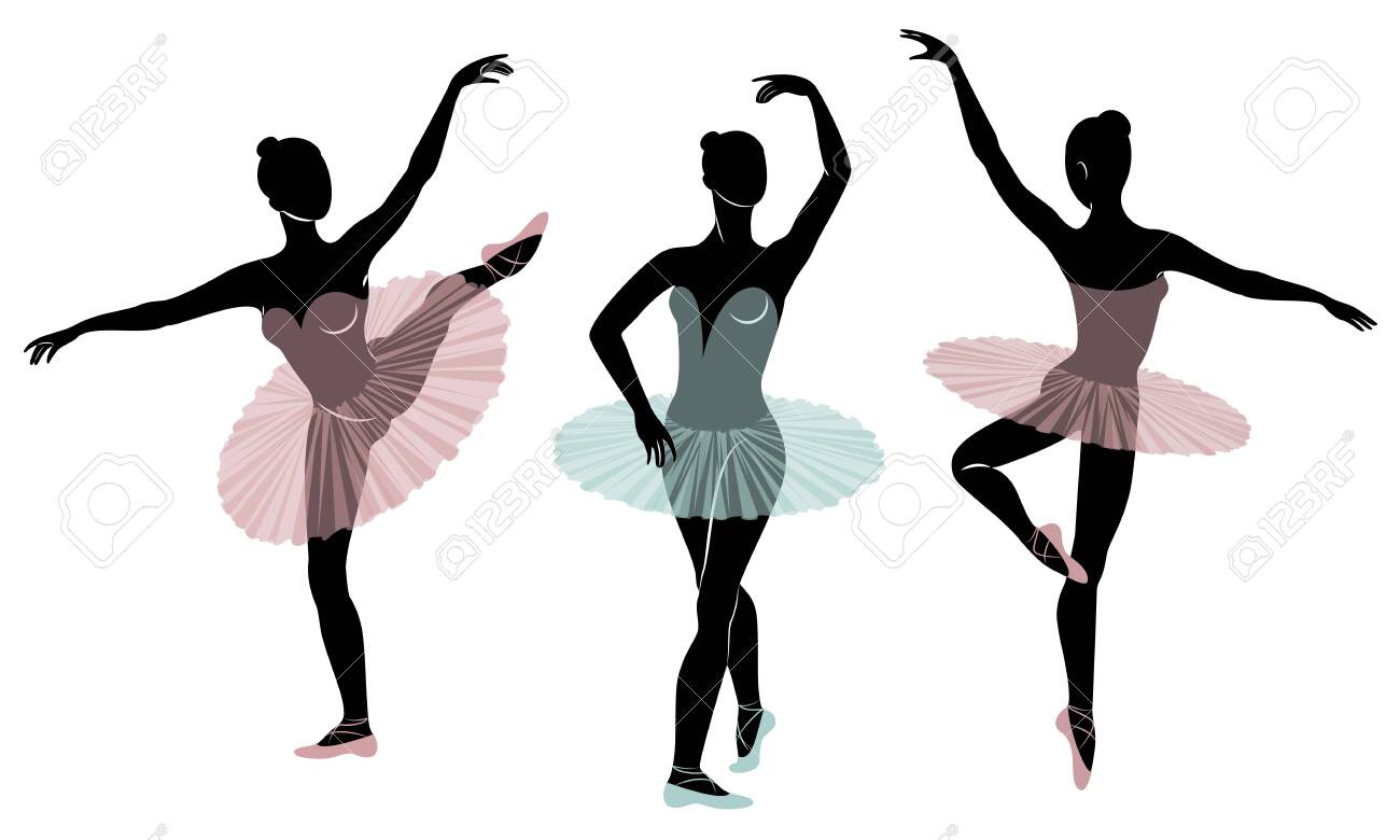 Collection. Silhouette of a cute lady, she is dancing ballet. The girl has a beautiful figure. Woman ballerina. Vector illustration set. - 122651741