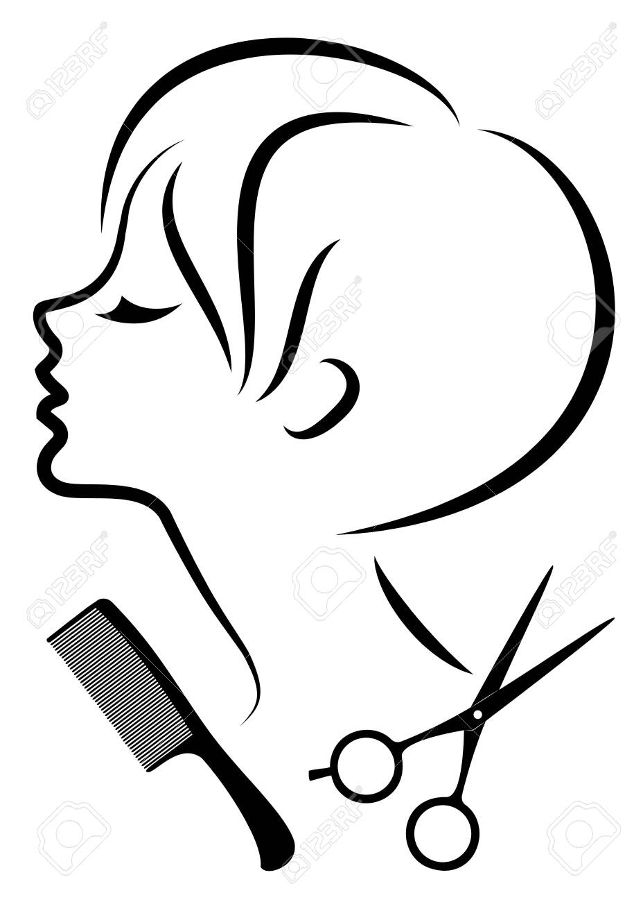 Silhouette of a cute lady. The girl shows a hairstyle on medium and long hair and scissors. - 147391676