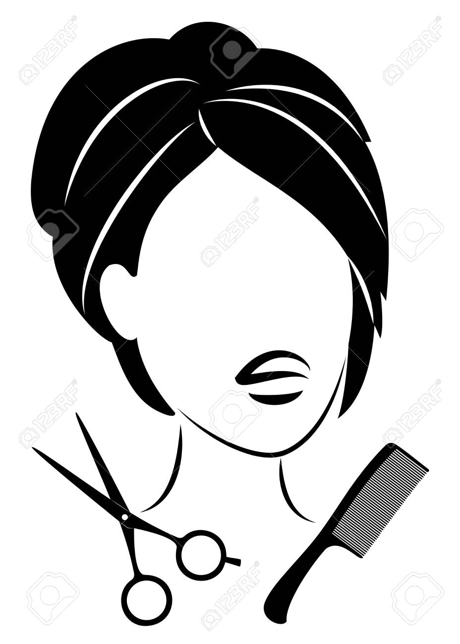 Silhouette of a cute lady. The girl shows a hairstyle on medium and long hair and scissors. - 147823768