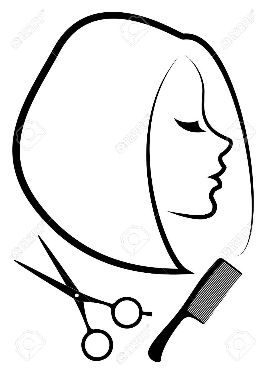Silhouette of a cute lady. The girl shows a hairstyle on medium and long hair and scissors. - 148502198