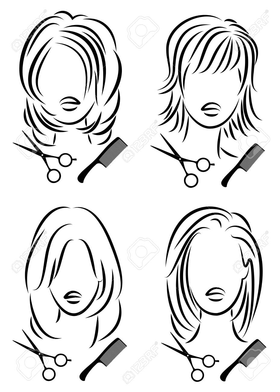 Collection. Silhouette of a cute lady. The girl shows a hairstyle on medium and long hair and scissors. - 148502197