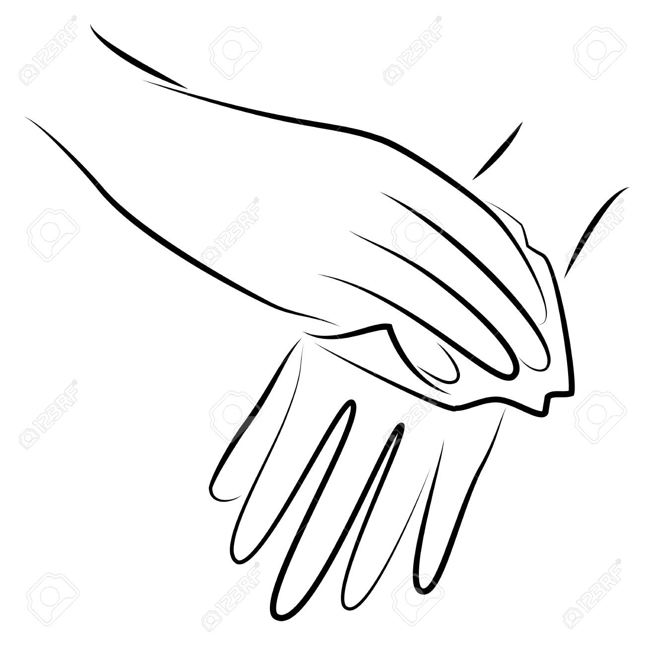 Rub your hands with a clean towel. Hygienic procedure. Disease prevention, good for health. Vector illustration - 148502204