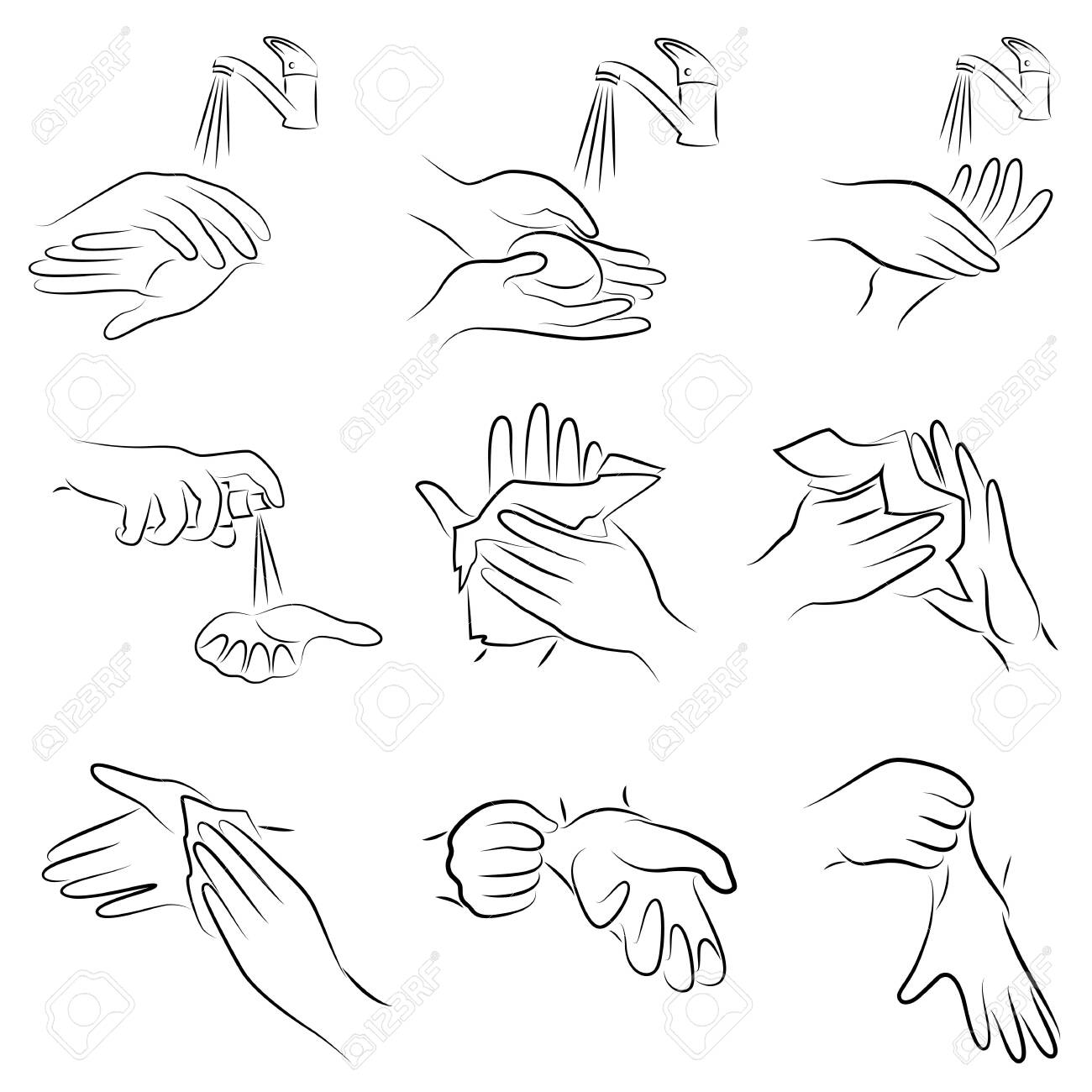 Collection of hygiene procedures. Wash your hands with soap under the tap, wipe with a napkin, treat with an antiseptic, wear rubber gloves. Vector illustration of a set - 148502209