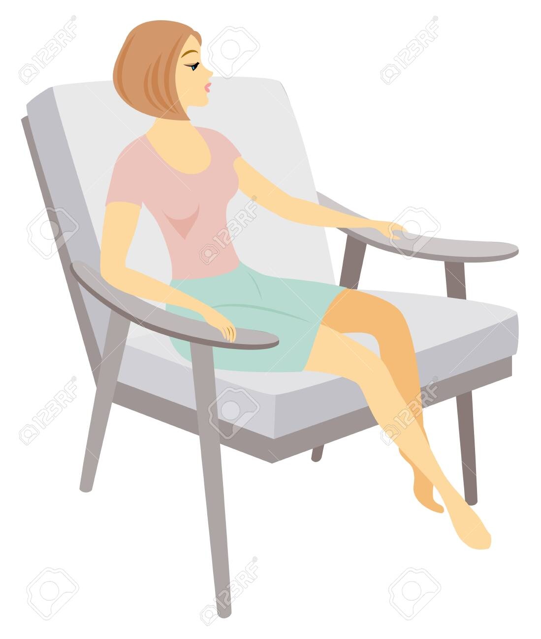 A beautiful lady is sitting in an armchair. The girl has a slim figure. The woman is resting. Vector illustration. - 148502318