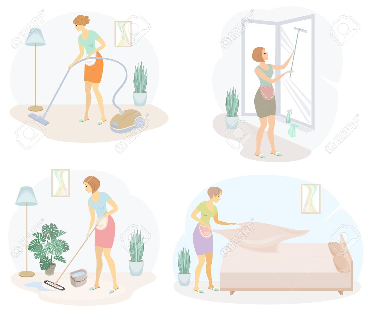 Collection. Profile of a cute lady. The girl cleans, mopping the floor, windows, vacuuming the room, making the bed. The woman is a good wife and a tidy housewife. Vector illustration. - 147986741