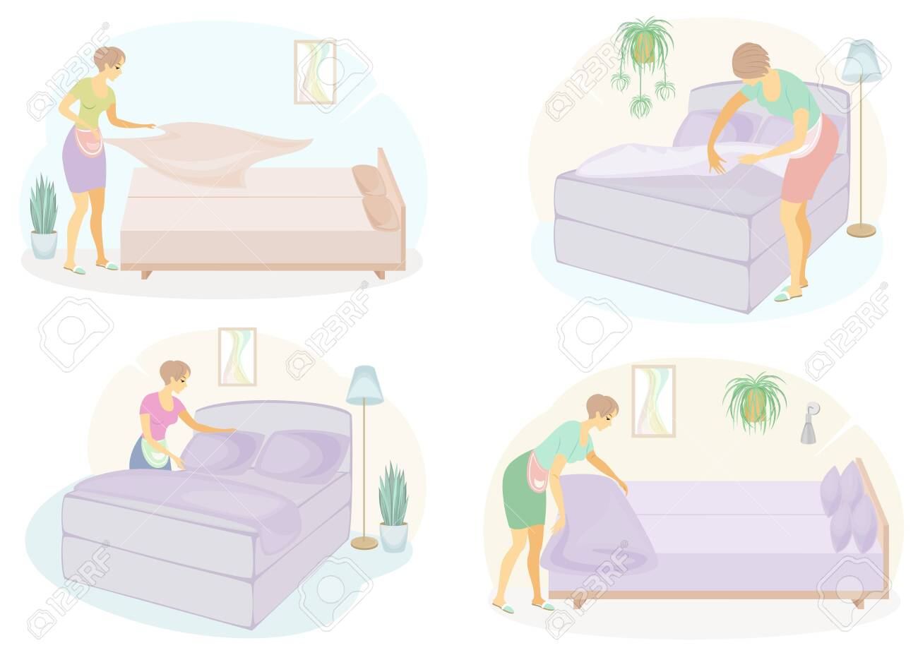 Collection. Profile of a cute lady. The girl makes the bed in the room. The woman is a good wife and a tidy housewife. Vector illustration of a set. - 148199362