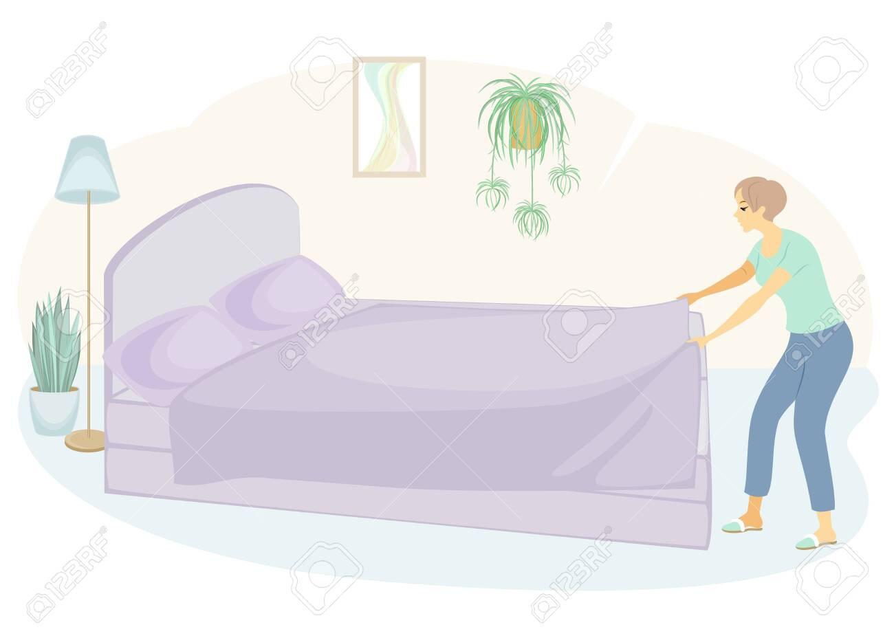 Profile of a sweet lady. The girl is making the bed in the room. A woman is a good wife and a neat housewife. Vector illustration - 148673040