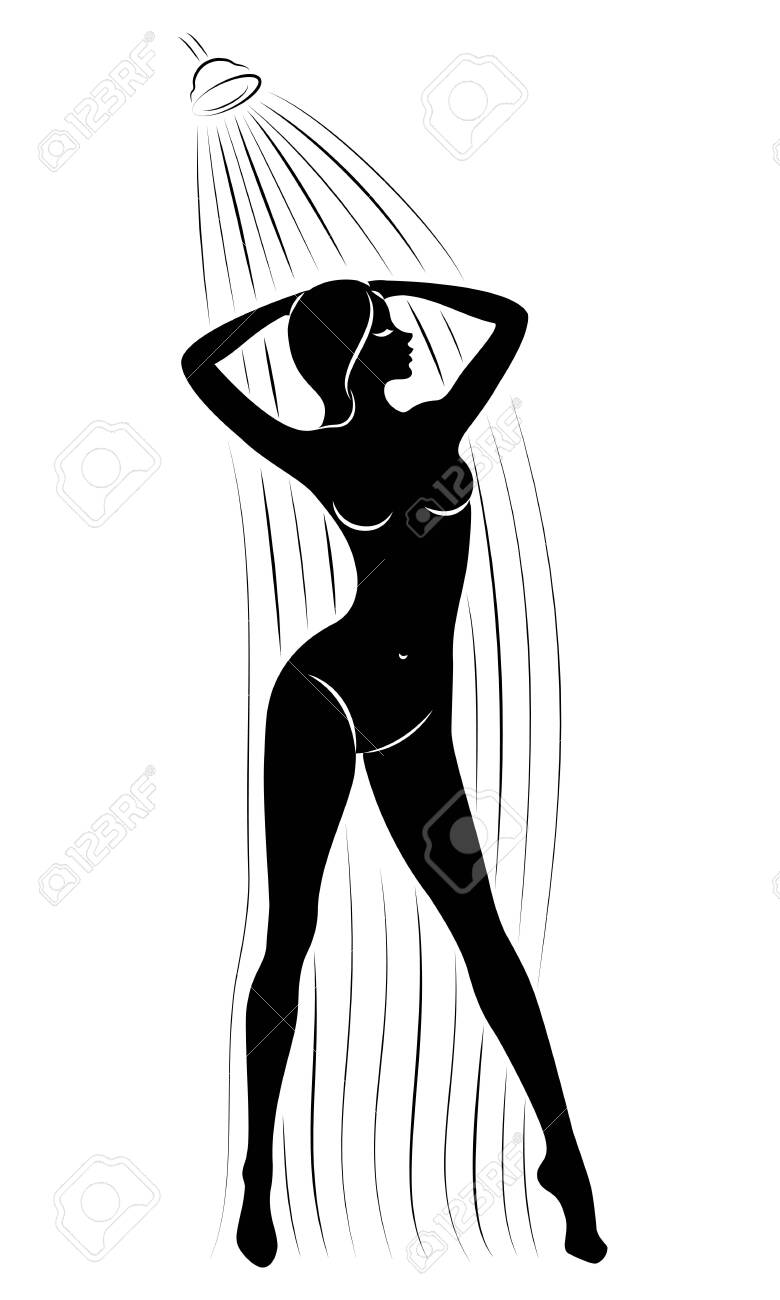 Silhouette of a cute young lady. The girl washes in the shower. The woman has a slim beautiful figure. Vector illustration. - 149664151