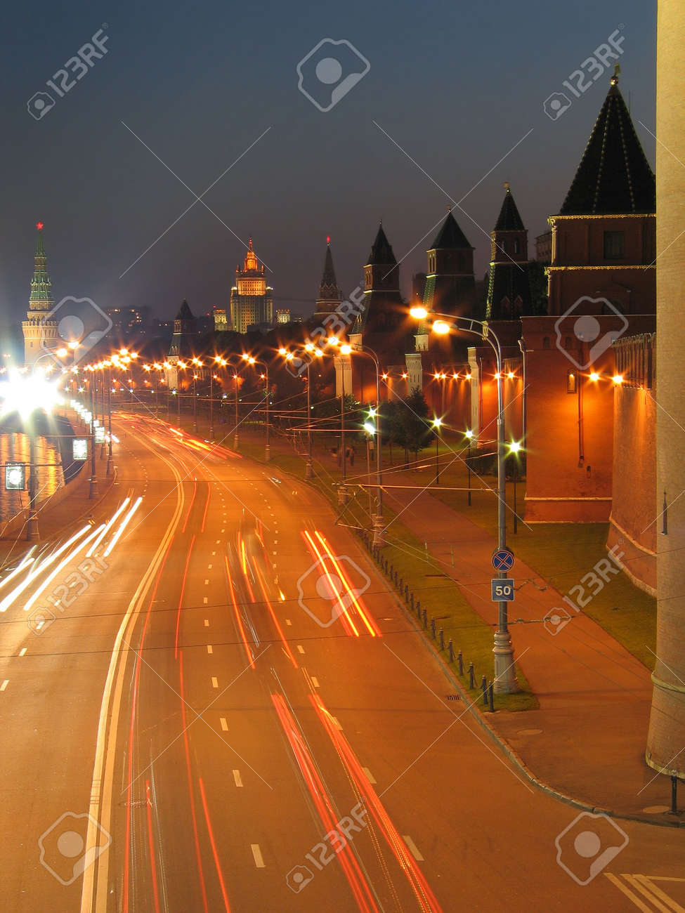 Night view of the walls of Moscow Kremlin. Russia. Stock Photo - 794590