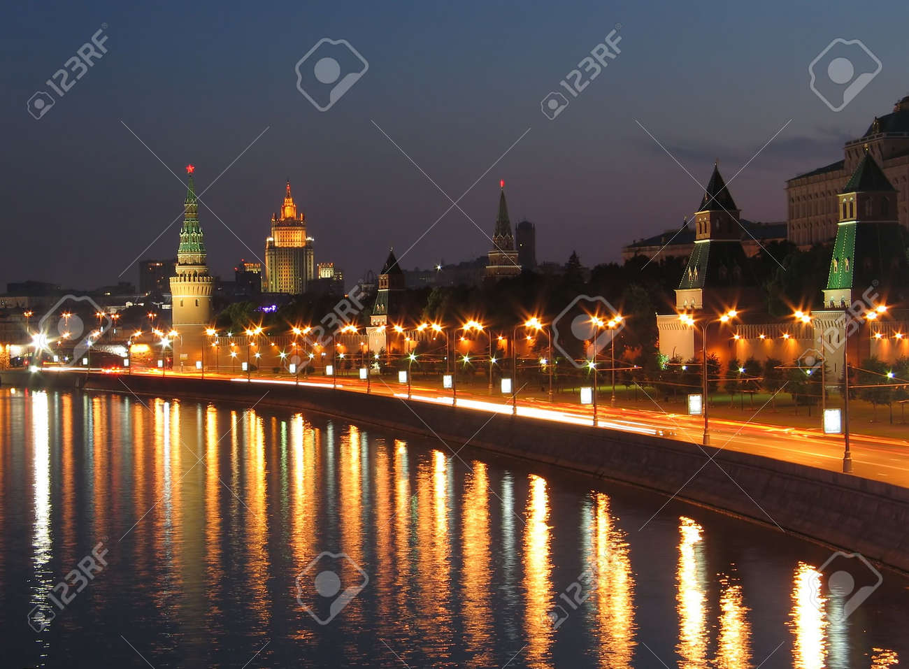 Night view of the walls of Moscow Kremlin. Russia. Stock Photo - 799497