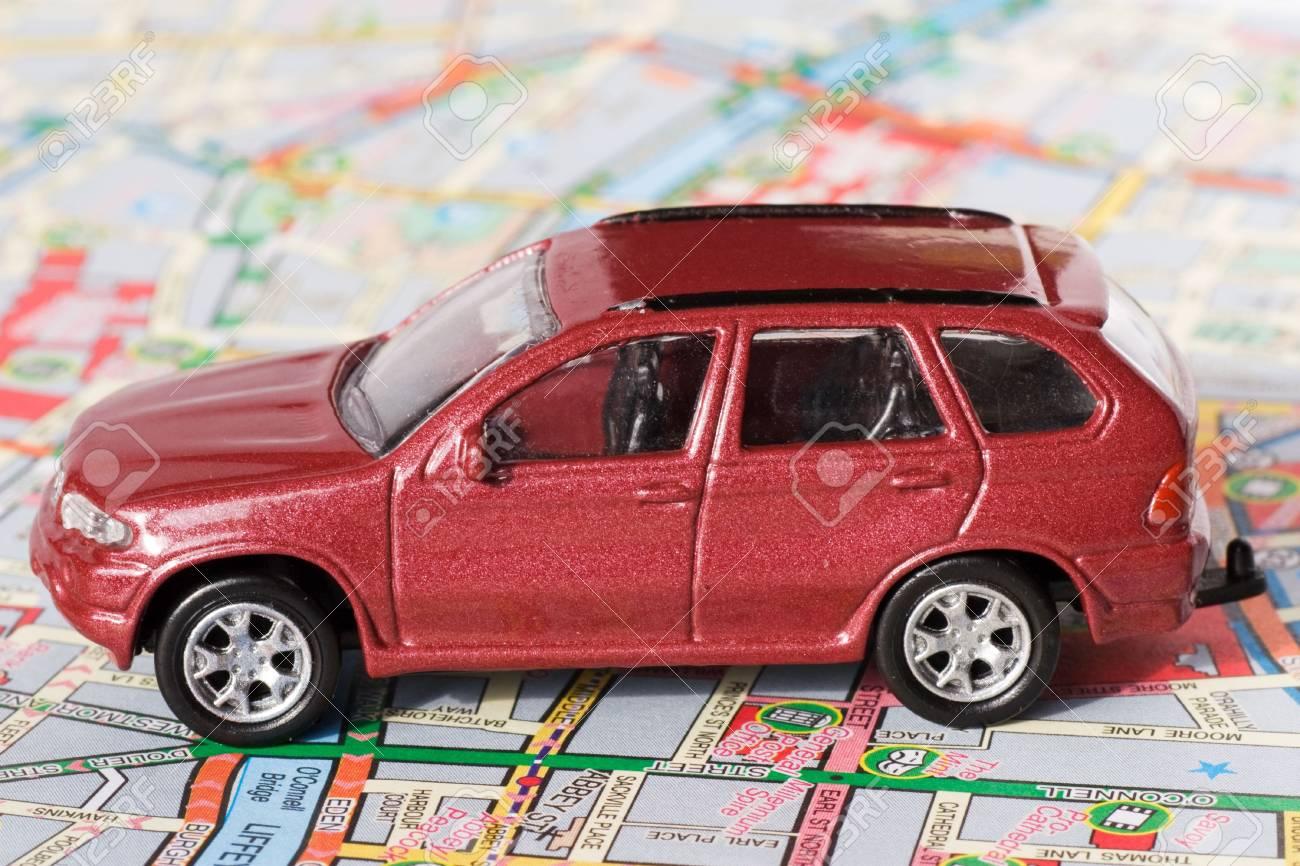 travel concept. small car on Dublin city map Stock Photo - 6552170