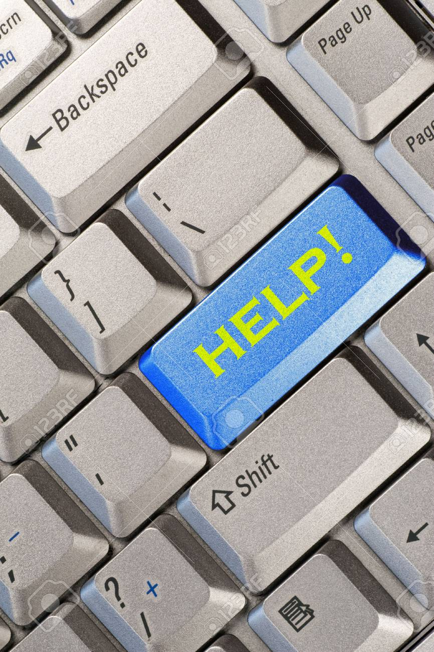 blue computer keyboard button with help word Stock Photo - 7340837