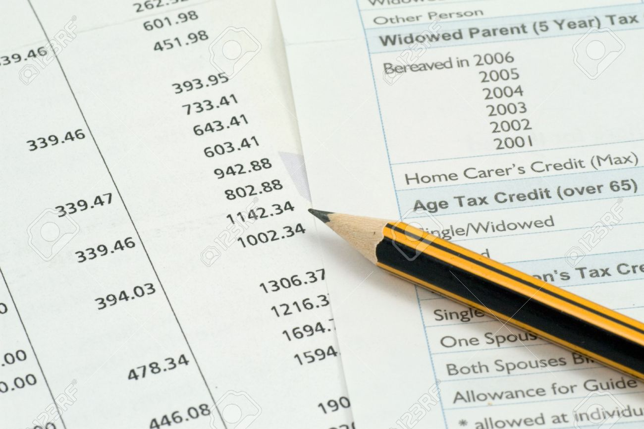 financial accounting background. pencil on a banking documents Stock Photo - 7489795