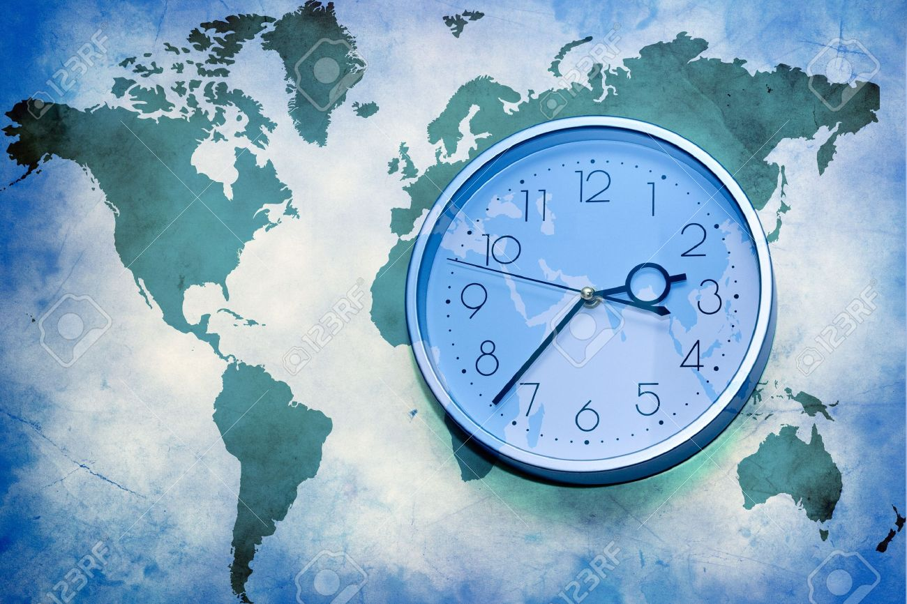 Abstract Business Background World Map With Wall Clock Stock - World map time zones now