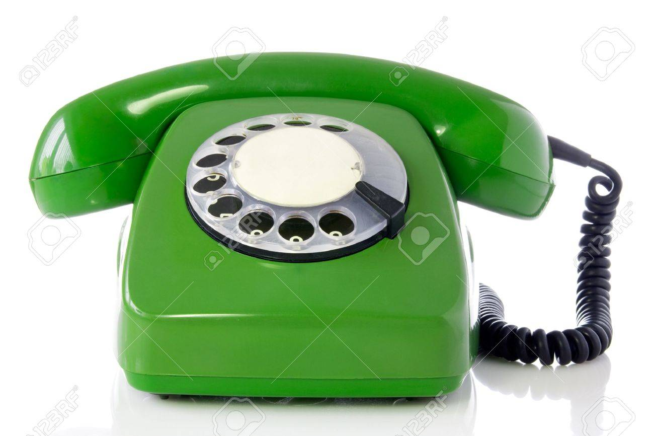green retro telephone isolated on white background. Stock Photo - 9756733