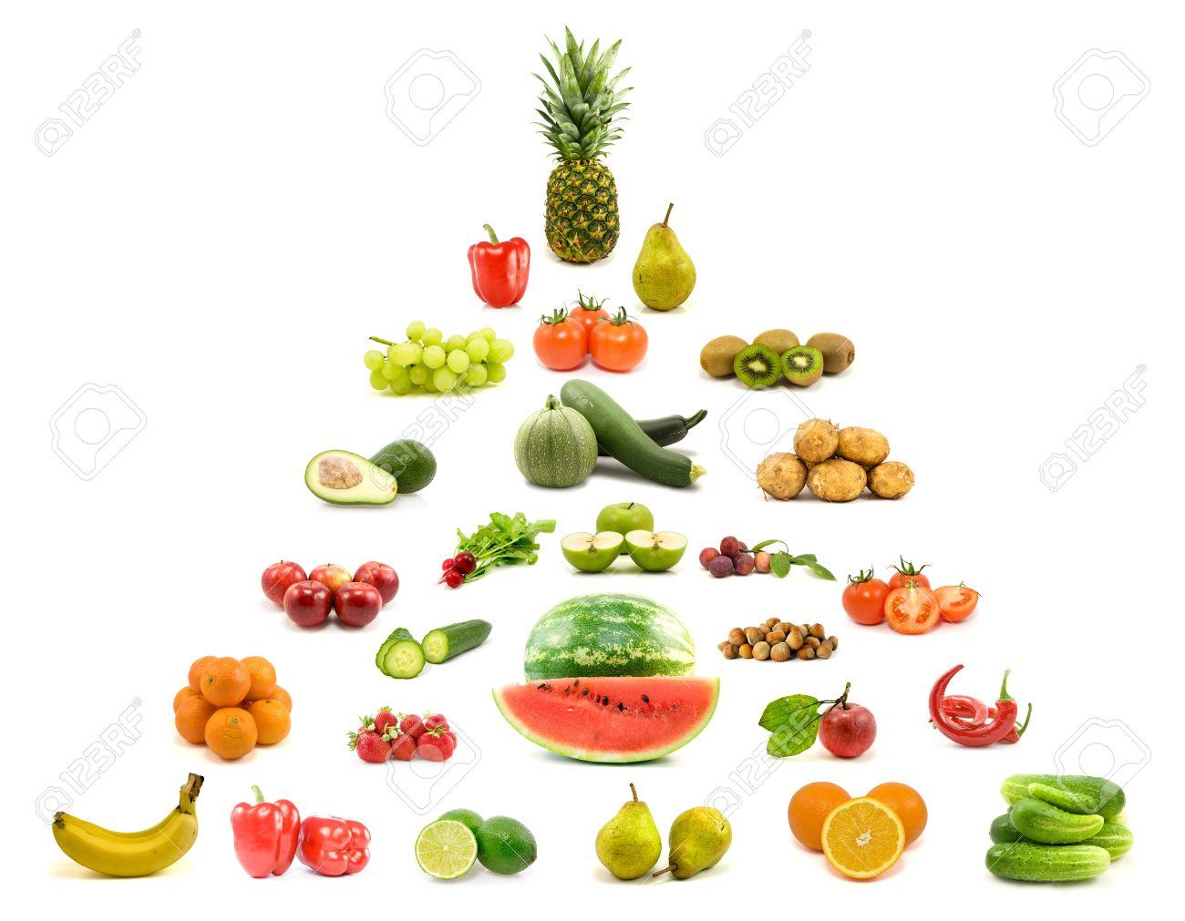 Diat Und Ernahrung Pyramide Aus Obst Und Gemuse Lizenzfreie Fotos