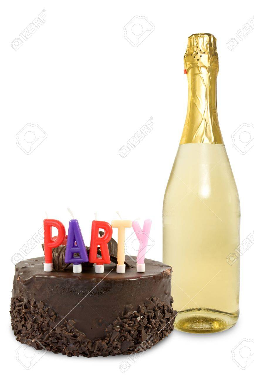 Birthday Cake And Champagne Bottle Over A White Background Stock Photo