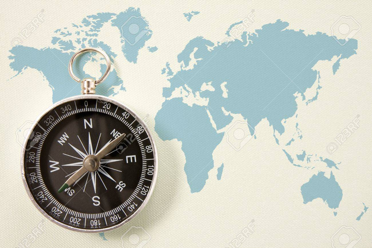 Black compass on blue world map concept for travel and tourism black compass on blue world map concept for travel and tourism stock photo 12407776 gumiabroncs Choice Image